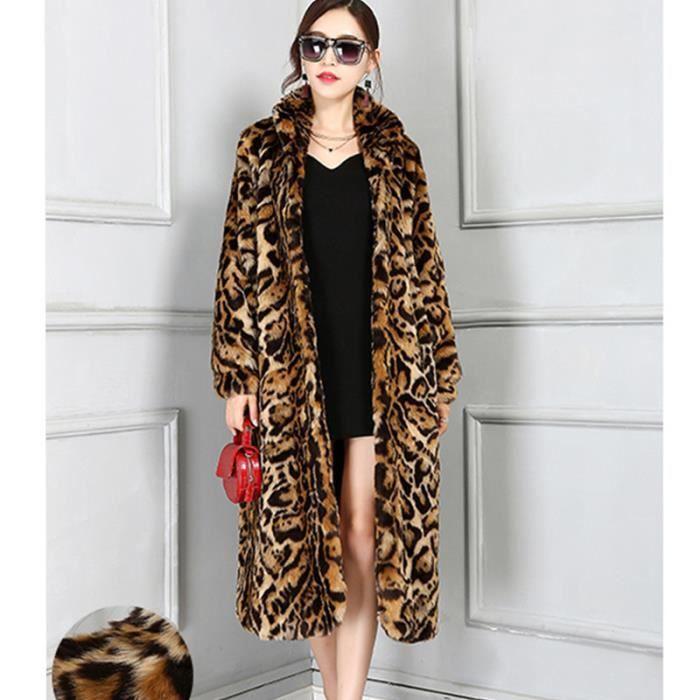 glam manteau en fausse fourrure l opard femmes manches longues femme hiver pardessus l opard. Black Bedroom Furniture Sets. Home Design Ideas
