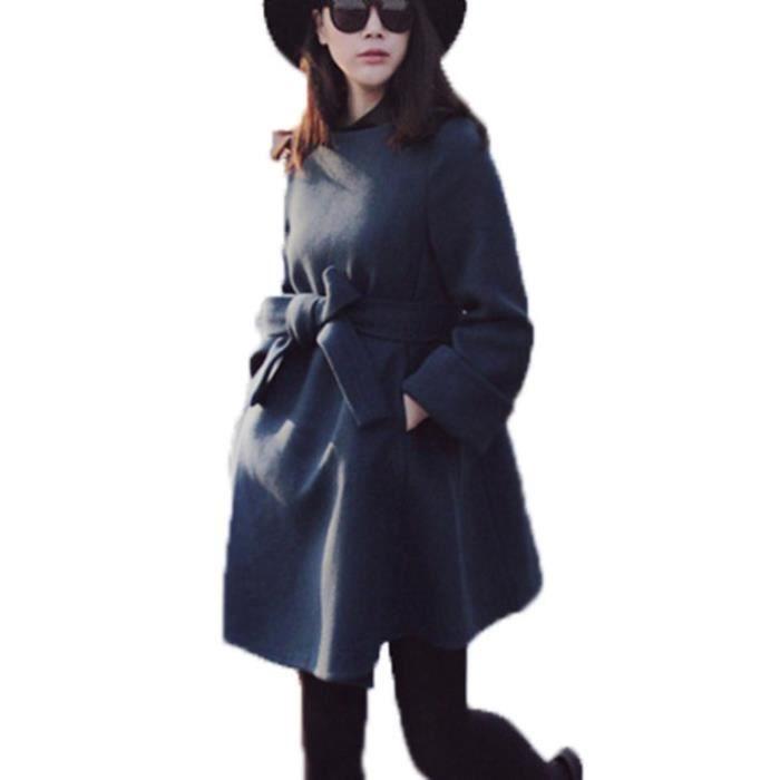 Longue D Manteau Mi Laine Femme Bleu Avec Ceinture Marin Nouveauté wgqvxv6Y