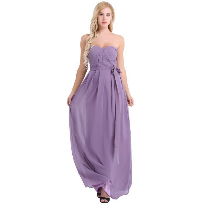 37df1b4c3f1 Femme Robe Longue Robe de Mariage Soirée Demoisellle d honneur Empire  Bustier Plissée Mousseline Robe de Bal Cocktail Plage Slim Fit