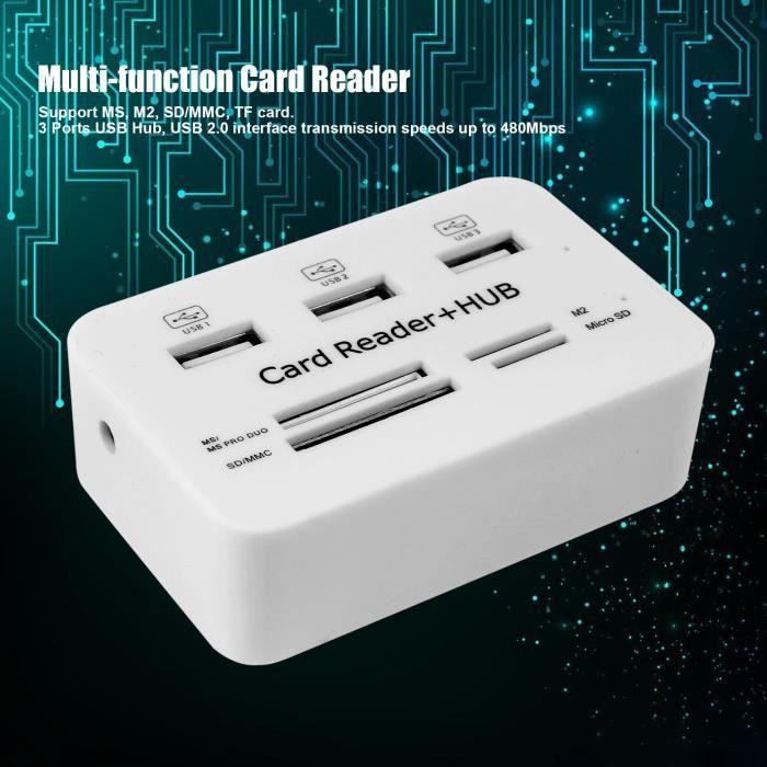 LECTEUR DE CARTE EXT. Multi-fonction lecteur de carte mémoire+3 ports US