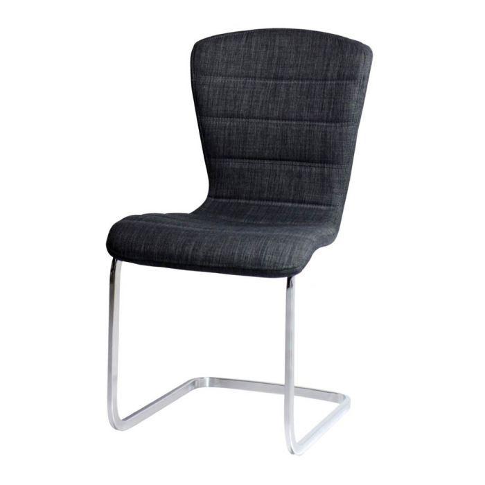 Chaise Design Tissu Gris Confort Lot De 4 Achat Vente Chaise
