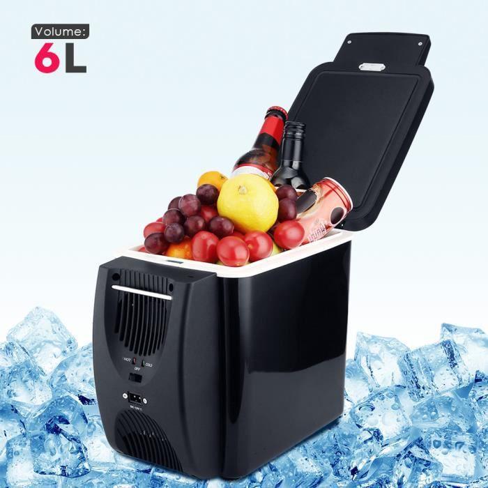 Glacière Congélateur 12V 6L pour Voiture Réfrigérateur Portable Electrique Noir
