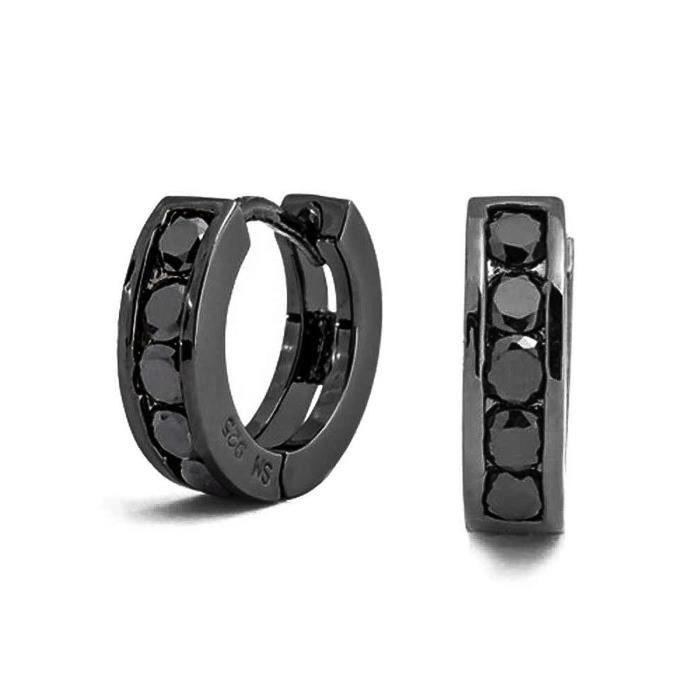 925 Noir Cubic Zirconia Boucles Huggie