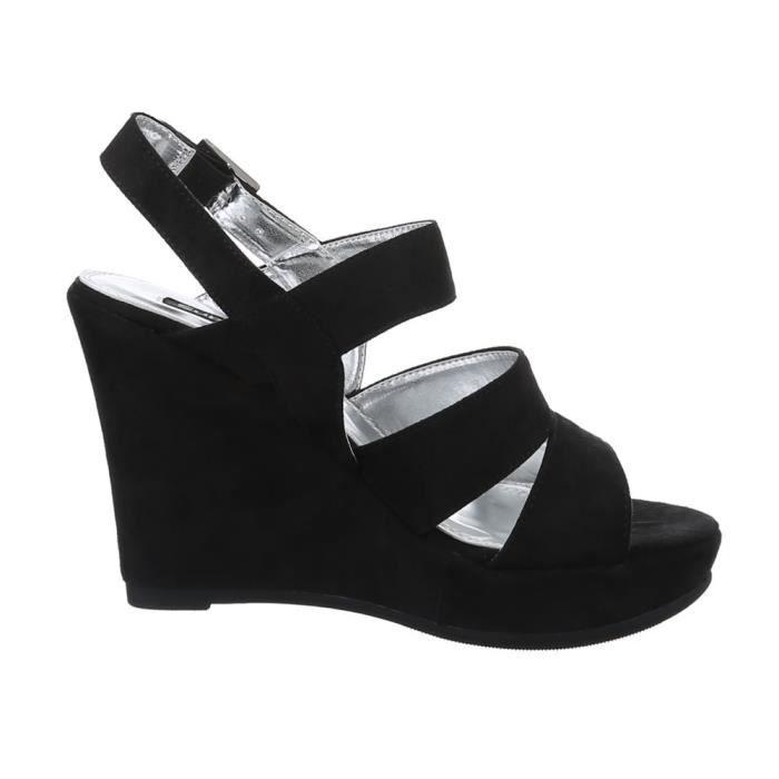 Femme sandalette chaussure semelle à talon compensé escarpin lanière Noir