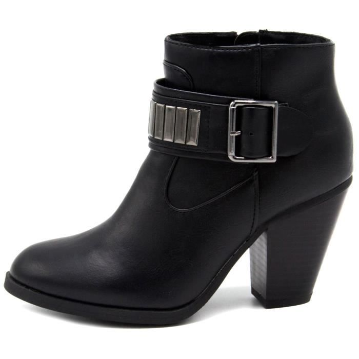 Rampage Velma bout rond synthétique noir Bootie JBG06 Taille-39