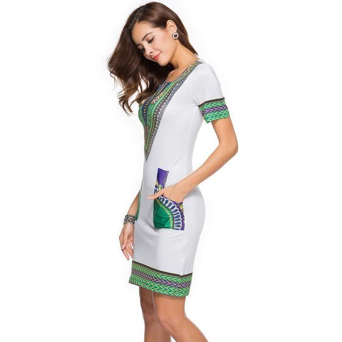 Robe Femme Eté Col V Imprimé Style Ethnique Skinny Mode Loisirs Simple Flavor