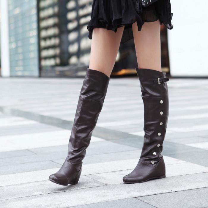 Nouvelle mode des femmes réel en cuir véritable Cuissardes femme Flat Martin Boot Femme Toe Round Up Chaussures Taille 34-47,noir,40