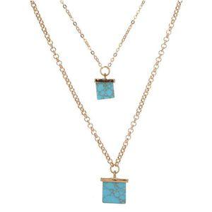 SAUTOIR ET COLLIER Femme mode bijoux Collier carré turquoise Double T