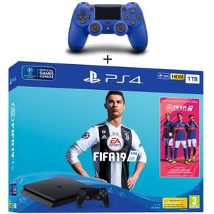 CONSOLE PS4 Pack PS4 1 To Noire + FIFA 19 + 2eme Manette Duals