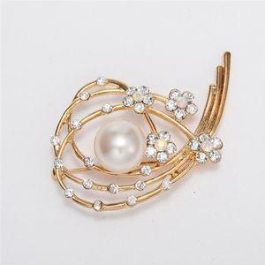BROCHE Conception Unique Forme de Fleur Irrégulière Perle