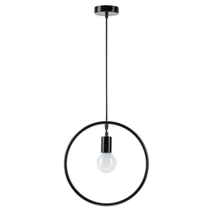 MATHIAS Suspension SILHOUETTE - Fer laqué noir mat - Ø 34 x H 34 cm