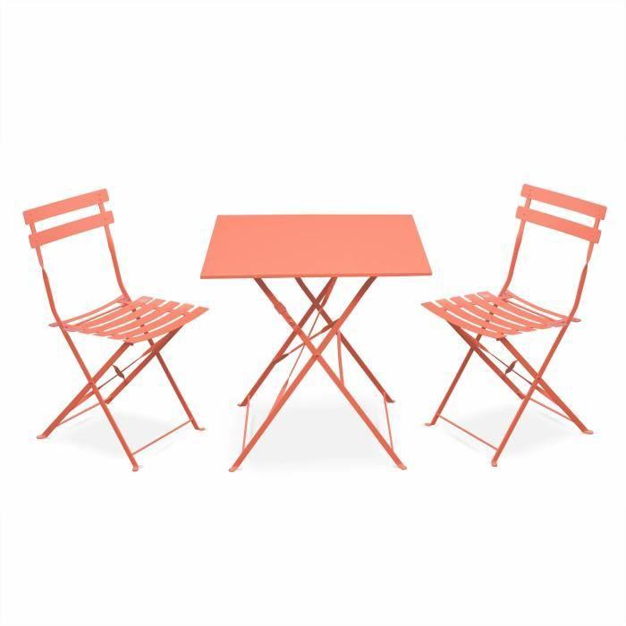Salon de jardin bistrot pliable - Emilia carré pêche - Table carrée ...