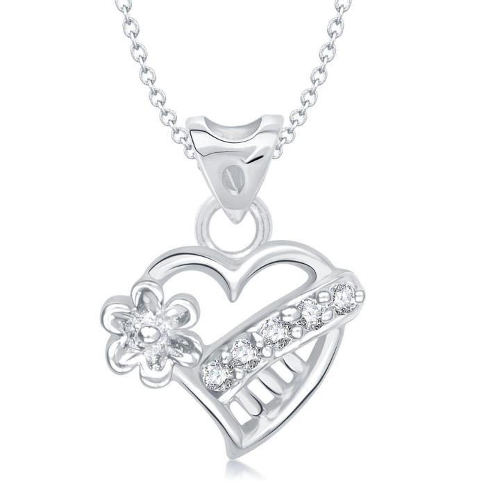 Femmes Valentine Lily Fleur de coeur de forme rhodié Pendentif - P1218r [vkp1218r] YGB3E