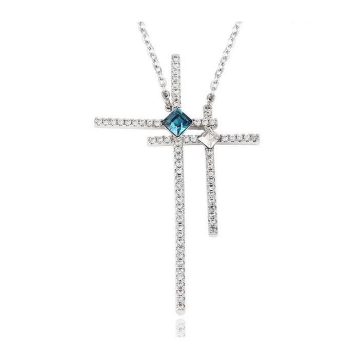 LORELYS- CadeauCollier Pendentif avec Chaîne Double Croix Religieuse Plaqué Or Blanc Entièrement Serti de Cristaux Transparent