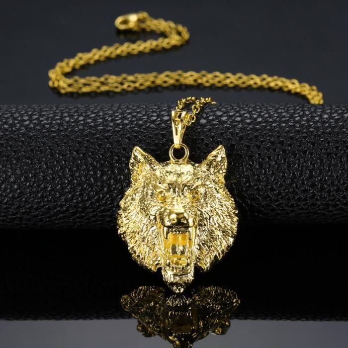 tête de loup créatif design bijoux mode hommes femmes collier 18k plaqué or  jaune pendentif chaîne feea88597aa0