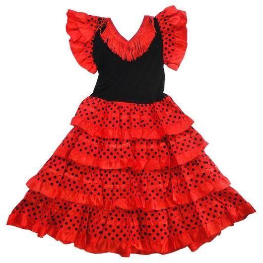 Robe de danse FLAMENCO fillette 8 ans rouge à pois