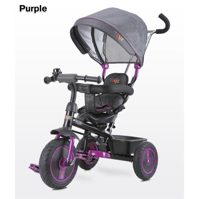 Tricycle évolutif avec repose-pieds auvent pliable barre à pousser enfant 3-5ans  BUZZ   Violet. 954e5803543