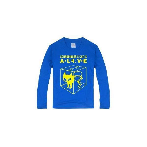 Tee Shirt Chat De Schrodinger Coton Look Decont Bleu Achat