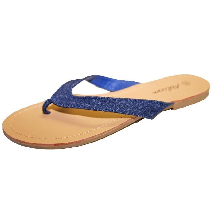 Tongs Sandales Claquettes Pieds Nus Femme Toile Jeans Vacances Plage Fashion!! xOmXoak