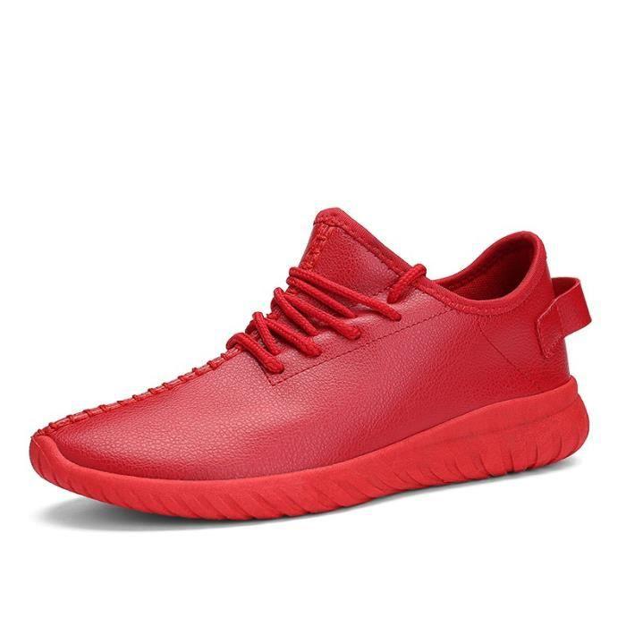 chaussures multisport Femme Plate-forme de coréenne douce sport en cuir Souliers simples de femmerouge taille40 46BOUPyw