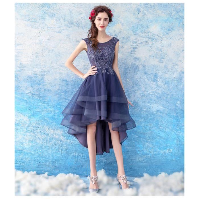 Bleu Tulle Marine Asymétrique Robe De Cérémonie Soirée Sans Cocktail Perlée Longue Femme Manches 3jq4RLc5A