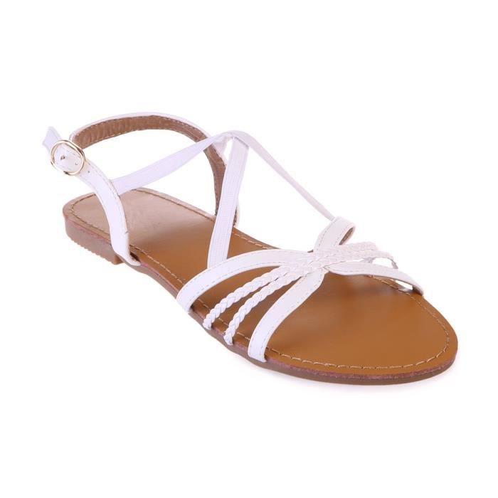 Tailles Sandales À Blanches Brides Croisées 42 Grandes AR4L5j