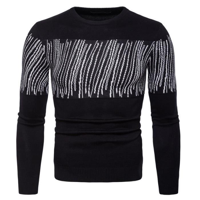 c842ff7e07d Haut en tricot pour homme Pull homme col rond pull en laine chemise ...