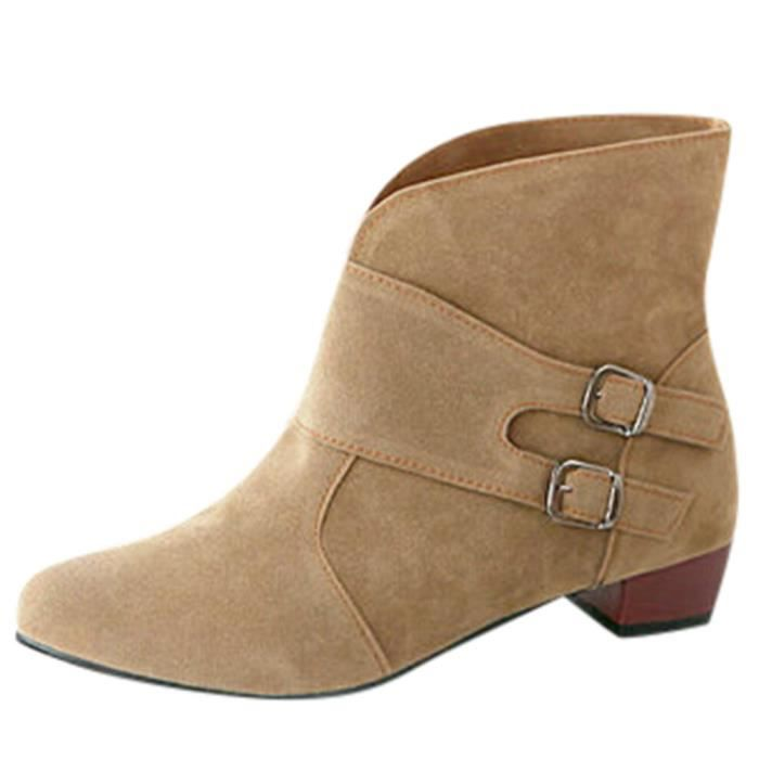 Chaussures Martin 7069 Ronde Bottes Bucklestrap Femmes Place Talons Toe Bottines Hax5wvSfq