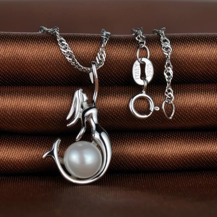 Infinite U Collier et pendentif en argent 925 la jolie sirène orné perle couleur dargent