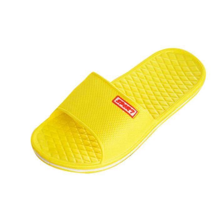 de Sandales femmes Sandales intérieures solides bain plates pantoufles Jaune extérieures de et d'été ZdYwqC