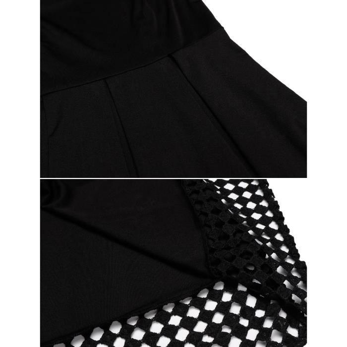 Robe élastique Casual O-Neck en dentelle Patchwork A-Line Plissé