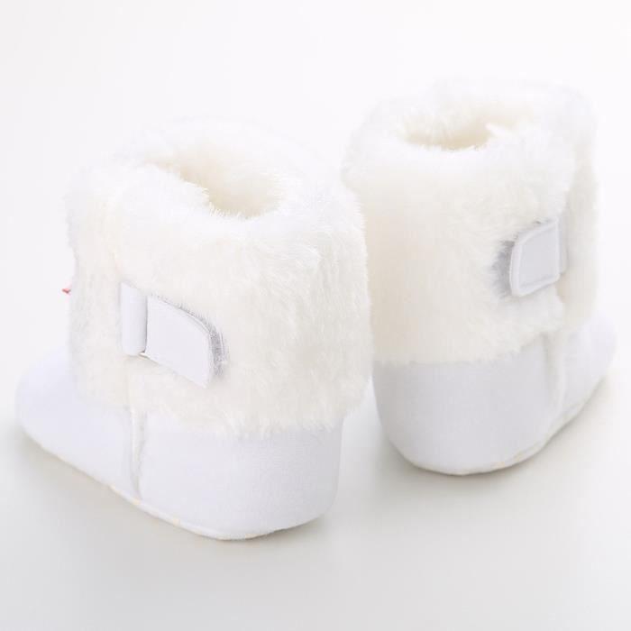 Blanc-Hiver Bébé Bottes de neige Tendance Loisirs Bowknot Chaussures de bébé en bas âge drkHLXL3js