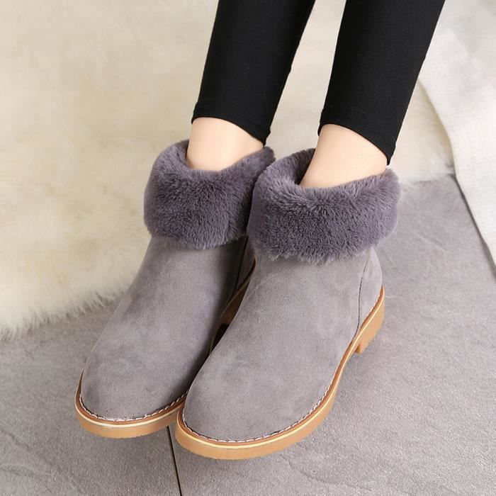Femmes Chaussures En Hiver De Bottes Neige Mode gg Zips Bottes gris Peluche Chaud Cheville Av1Rqn