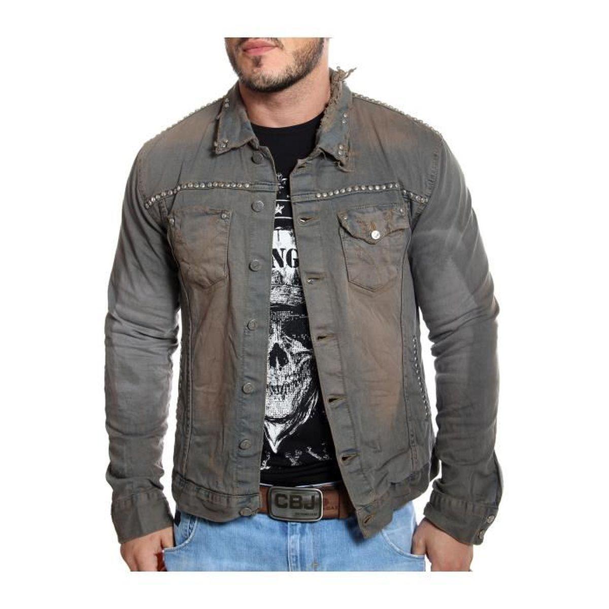 Kingz - Veste en jeans usée et délavée avec clous Gris - Achat ... 737e3940153a