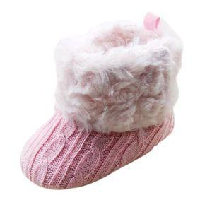 SODIAL(R) Enfant Bebe Crochet - Tricot Bottes Polaires Petits Filles Laine Neige Crib Chaussures Bottines Blanc Taille L (12-18 sGU2DOU