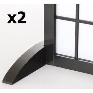 PARAVENT Lot de 2 pieds pour paravent en bois noir - 2.8 x