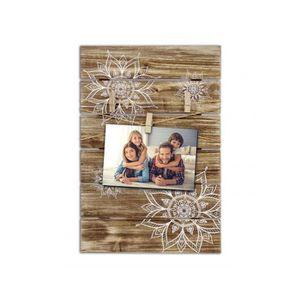 PÊLE-MÊLE PHOTO Pêle-mêle photo en bois ethnique avec rosaces blan