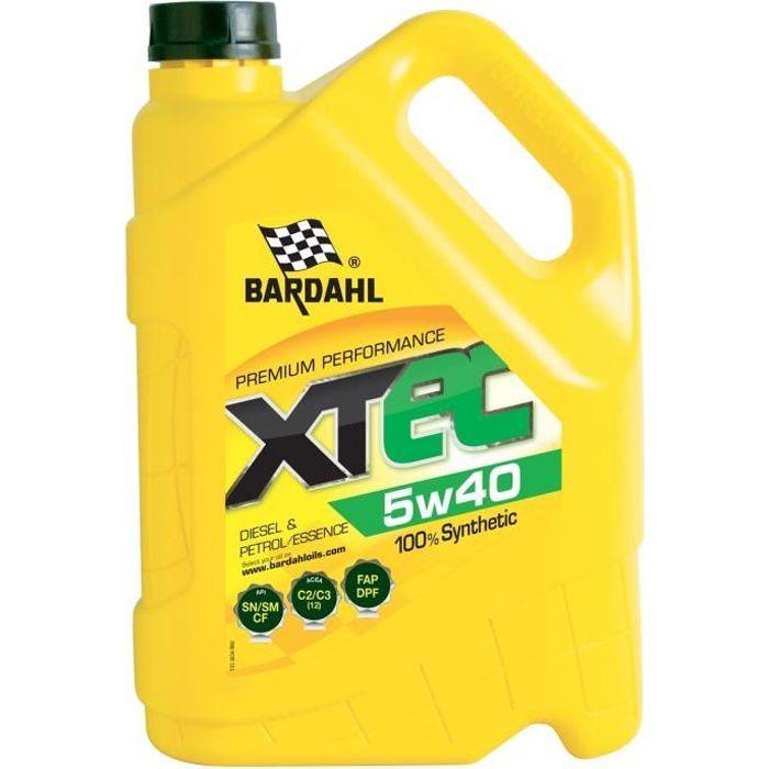 Bardahl xtec 5w40 huile moteur 100 synthétique essence diesel 5l