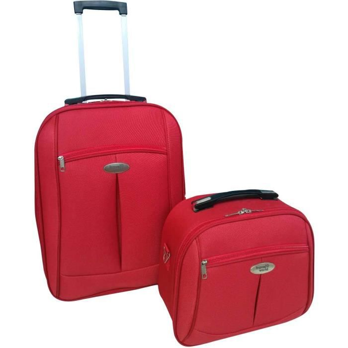 TRAVEL WORLD-TW00091-2RED - Ensemble de 2 pièces: valise cabine 55cm + vanity case avec 1 kit de 3 flacons de voyage de 100ml - Coul