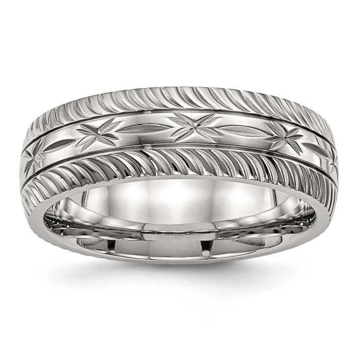 En acier inoxydable poli 7 mm découpé au diamant-Taille 54 - 1/2