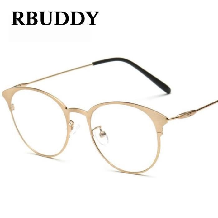 75fe9e3180c86d RBUDDY Computer lunettes Femmes Hommes Lunettes monture de lunettes claires  Jambes or fin Cat eye Métal Faux verres Transparent