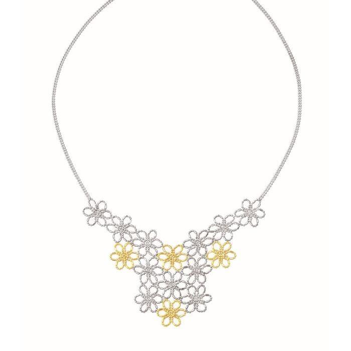 Argent Sterling 14 carats Fleur Collier de perles 18 pouces