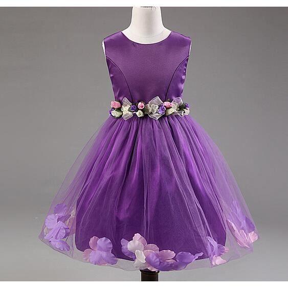 0b0b30a15991a Enfant fille mariage robe fête mousseline cérémonie fleurs princesse robe  violet