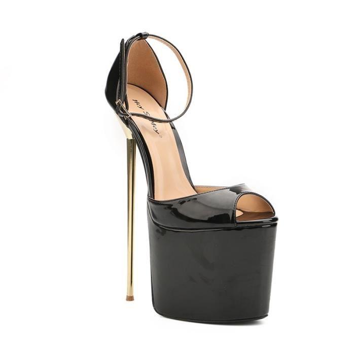 Femmes Classique Sandales Vintage Design sangles longueur cheville ouverts Chaussures d'été Toe épais Talons Party Platform Sandales
