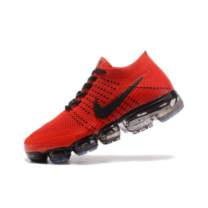 best service c7eac 1e4b9 Baskets Nike Air VaporMax Flyknit Homme Chaussures Rouge