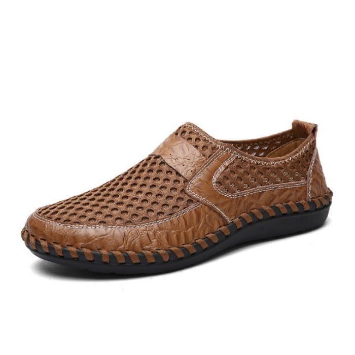 Chaussure Homme Printemps Été Comfortable Respirant Slip On Chaussures ZX-XZ070Marron44 Z2Bm4tYh