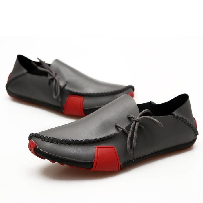 Chaussures Hommes Casual nouvelles Véritable Slip en cuir sur les hommes Mocassins Mocassins Flats Sapatos Masculinos sociale SEZVzF