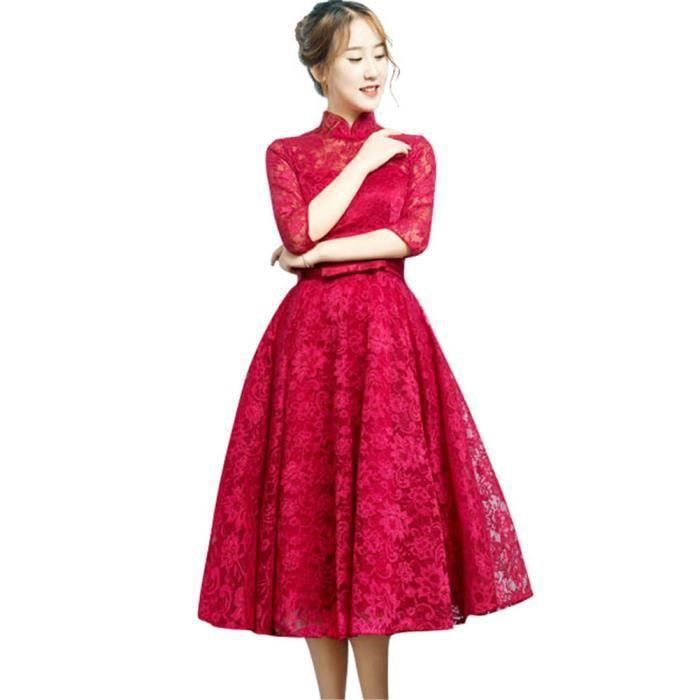 c5ad7f9b04d Robe de Soiree Élégant demi-manche femme Cocktail Party Rouge foncé  VV05420-3