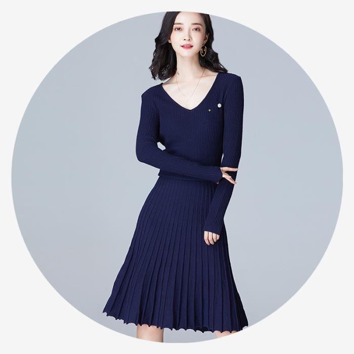 Femme Robe Col V Manches Longues Froncé Monochrome Mi-Longue Grande Taille  Loisirs Tempérament 9c77c5ad4ab9