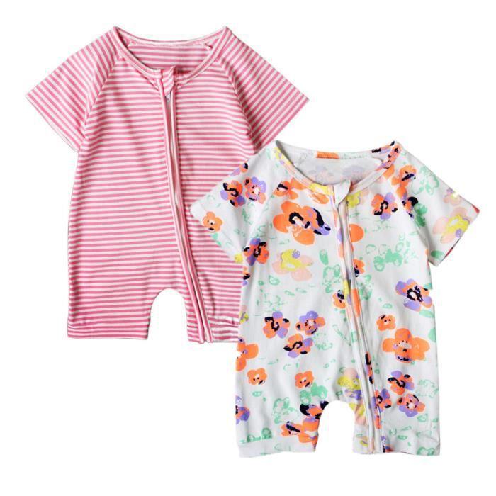 3c0d0441d17fc Lot de 2 Bodies Fille Bébé Pyjama à Fermeture Éclair Barboteuse Manche  Courte Motif Fleur et Rayure Combishort Nouveau-né